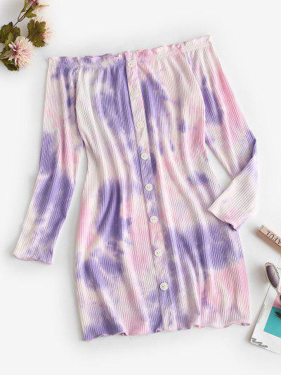 Off Shoulder Ribbed Tie Dye Long Sleeve Dress - Light Purple M
