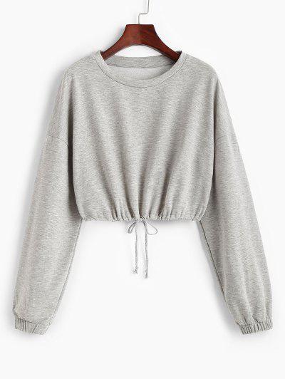 Loose Drawstring Hem Cropped Sweatshirt - Gray S