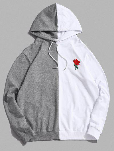 ZAFUL Bicolor Floral Embroidery Casual Drawstring Hoodie - White L