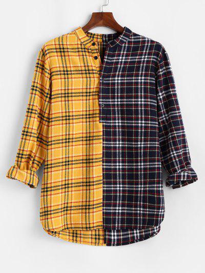 Color Blocking Panel Plaid Long Sleeve Shirt - Yellow M