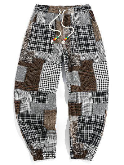 ZAFUL Plaid Patchwork Print Casual Pants - Multi 2xl