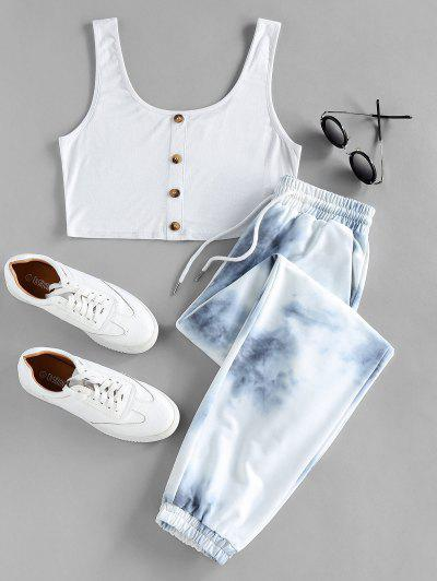 ZAFUL Crop Top And Drawstring Jogger Pants Set - Multi M