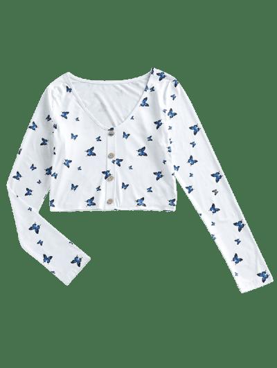 ZAFUL Cropped V Neck Butterfly Print Tee