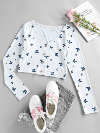 ZAFUL Cropped V Neck Butterfly Print Tee - Deep Blue M