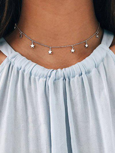 Star Choker Chain Necklace - Silver