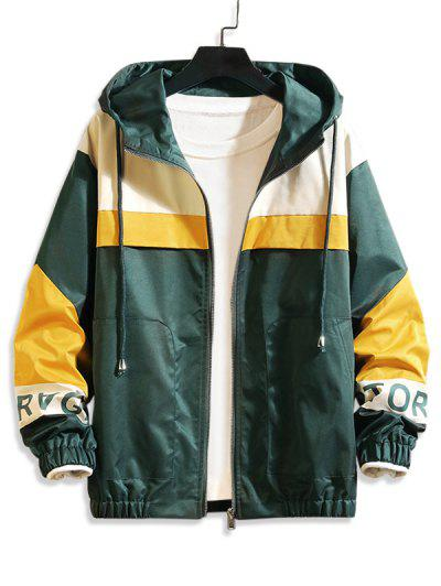 Letter Print Colorblock Panel Hooded Jacket - Medium Forest Green S