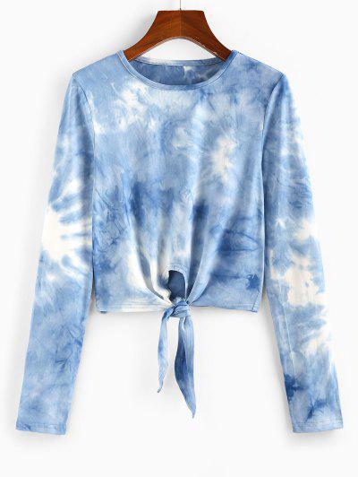 ZAFUL Tie Dye Front Tie Crop Tee - Denim Blue M