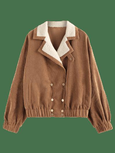 ZAFUL Corduroy Teddy Collar Pocket Drop Shoulder Jacket