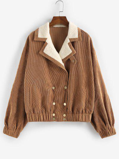 ZAFUL Corduroy Teddy Collar Pocket Drop Shoulder Jacket - Tiger Orange S