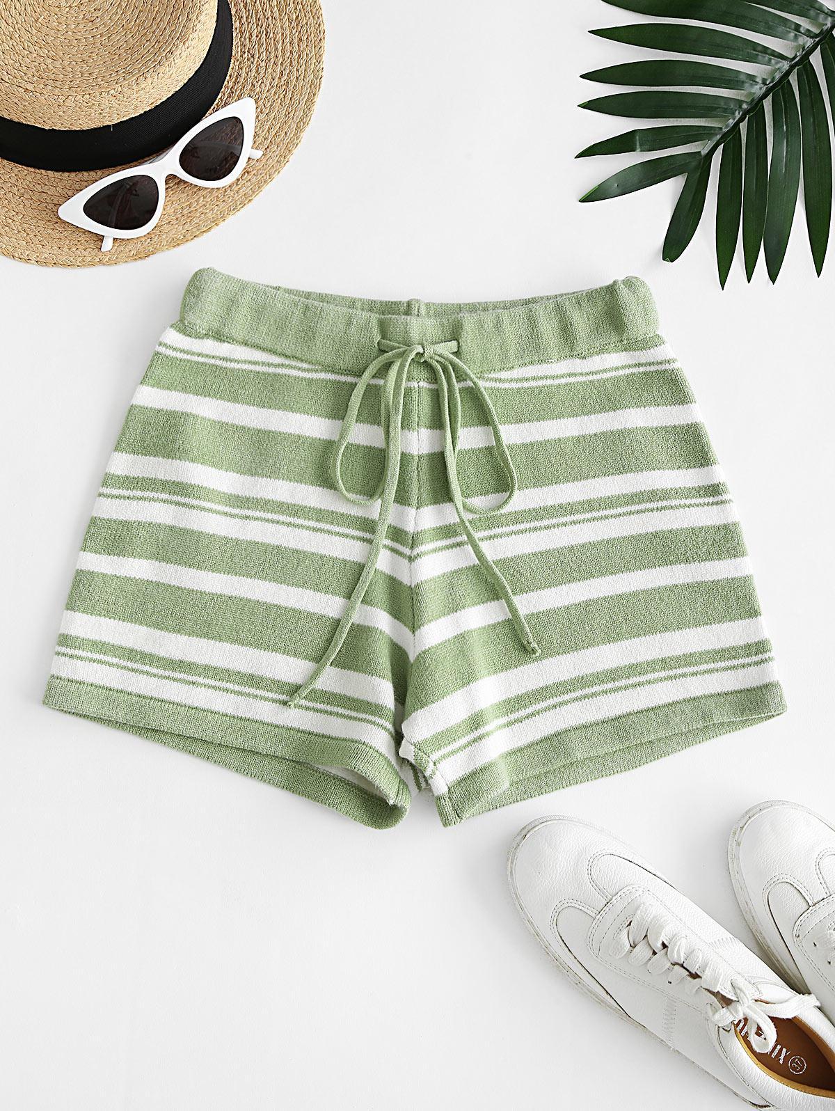 Drawstring Knit Striped Shorts
