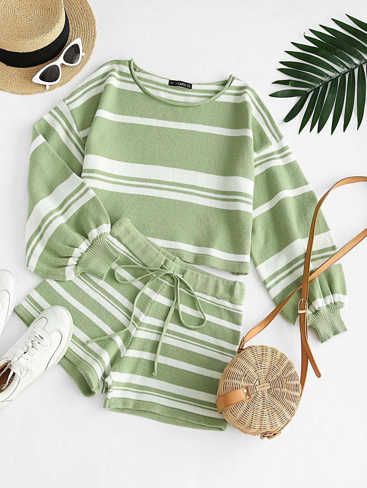 Striped Knit Two Piece Shorts Set