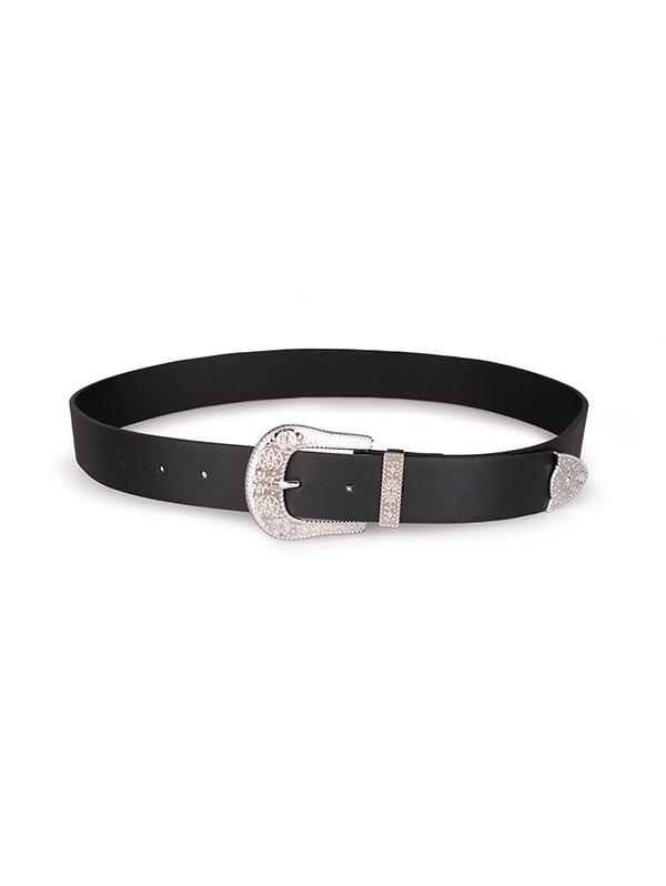 Embossed Star Pattern Buckle PU Leather Waist Belt