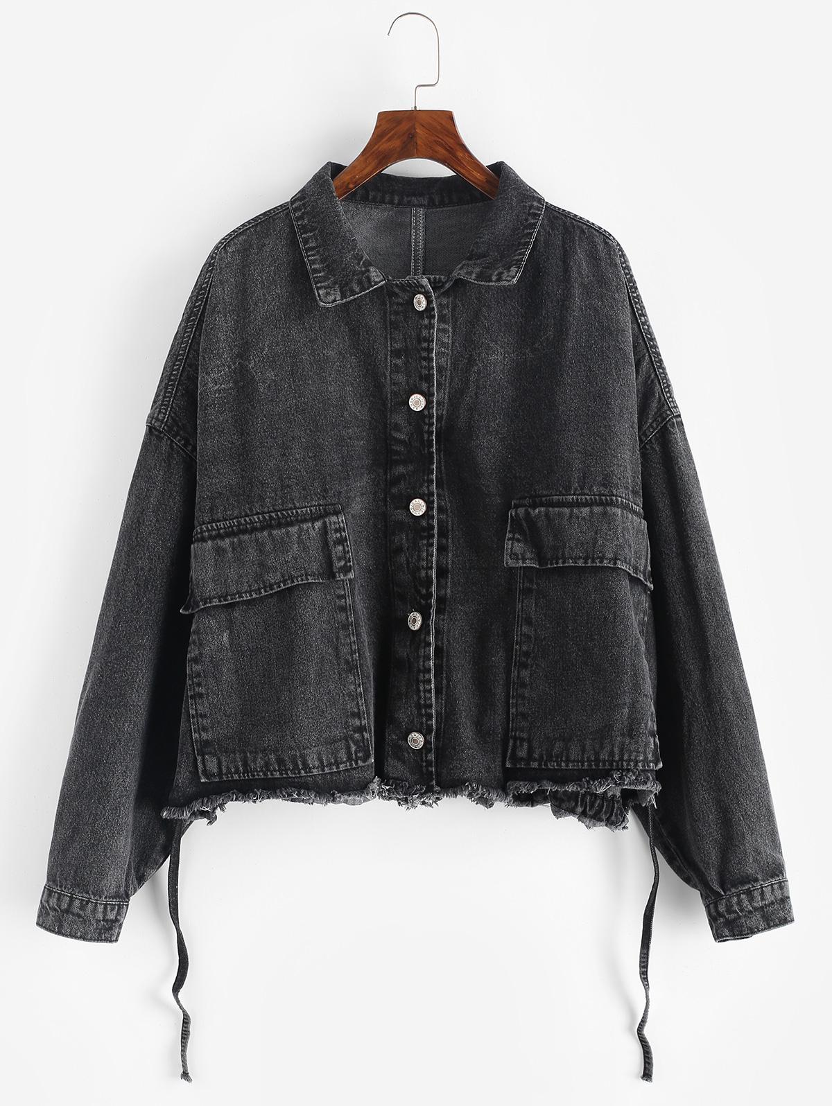 Frayed Raw Hem Oversized Pocket Denim Jacket