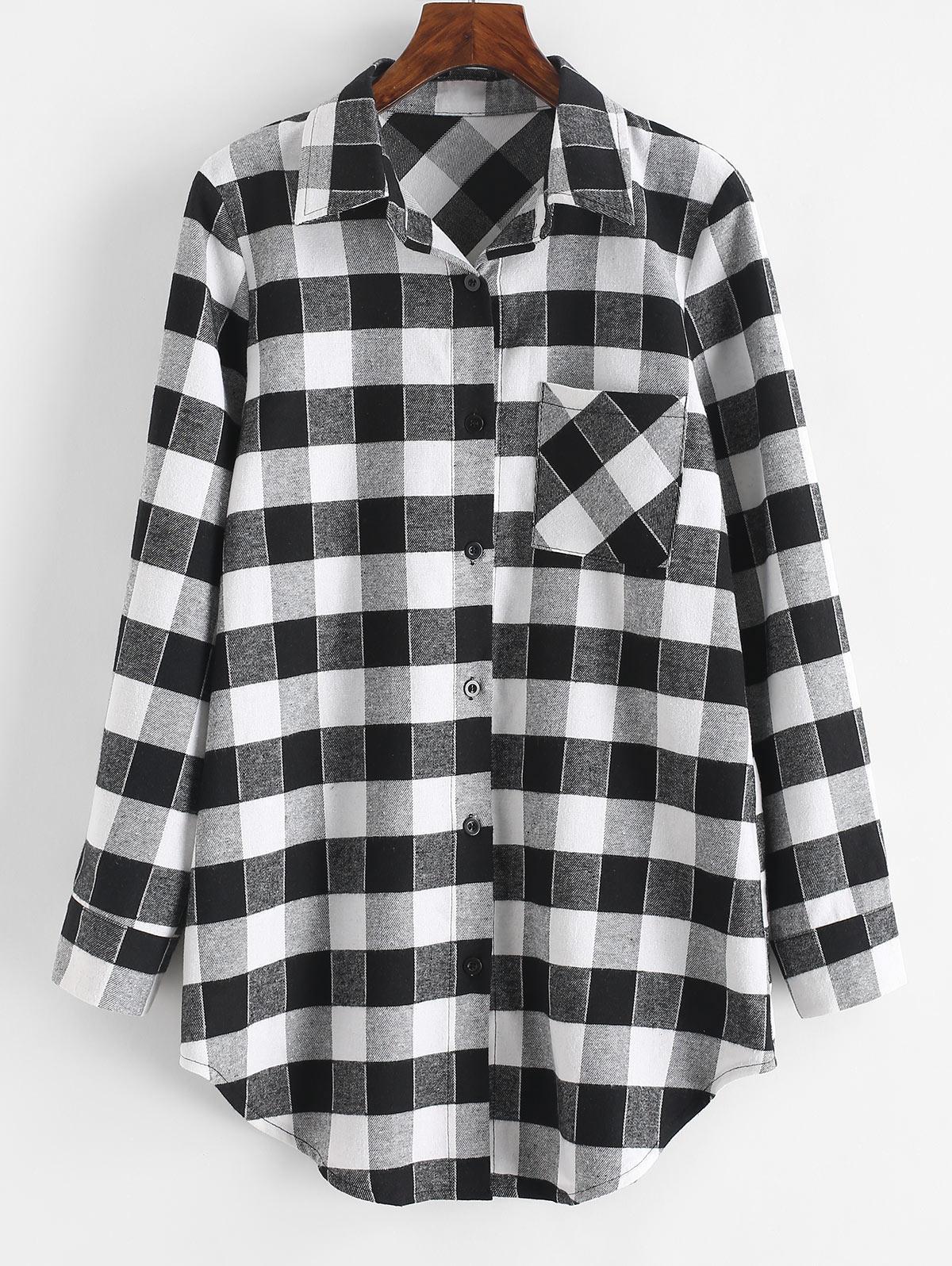 Plaid Flannel Chest Pocket Shirt Dress