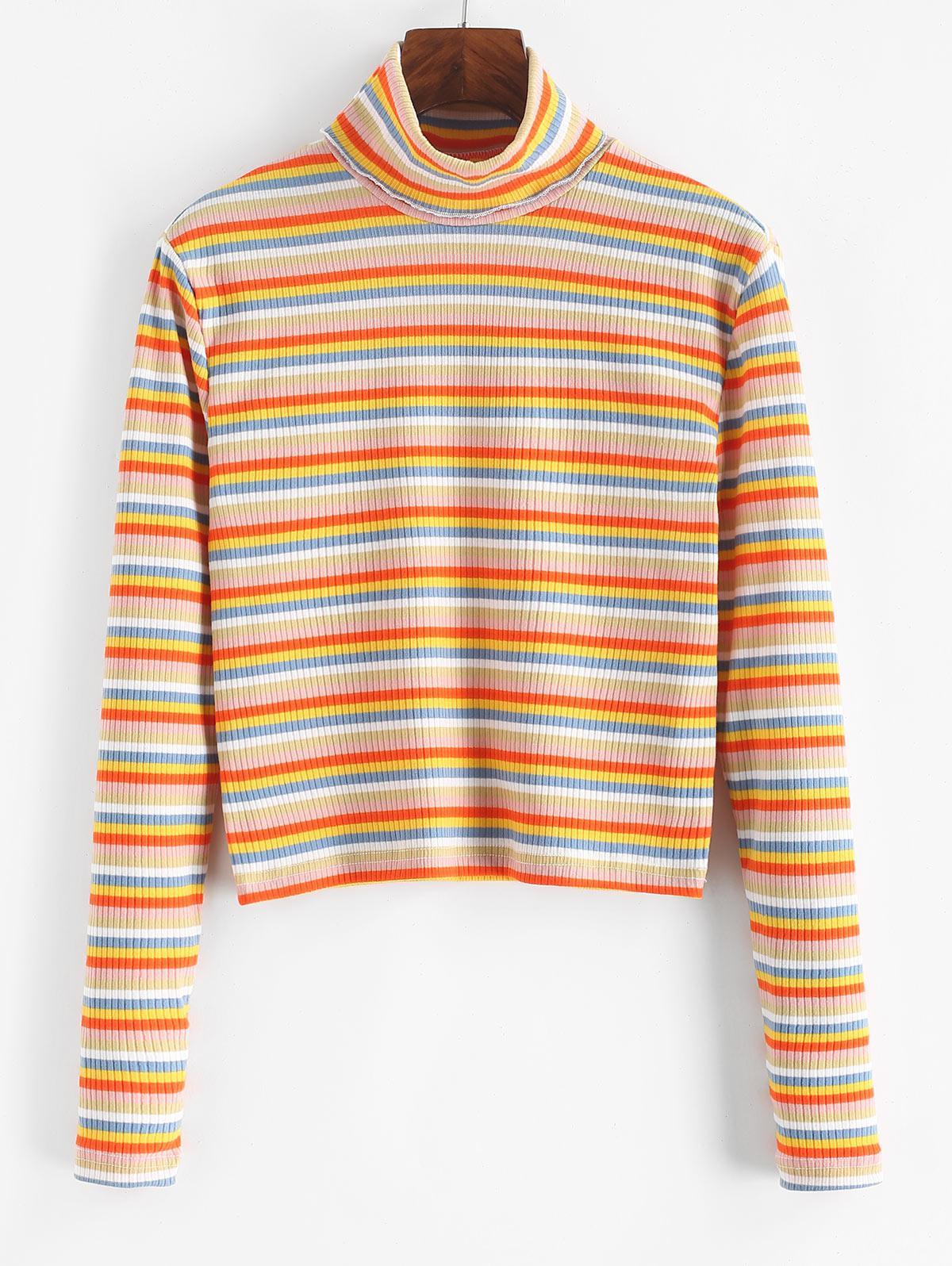 Turtleneck Striped Ribbed Slim Knitwear