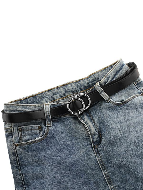 Brief Double Circle Buckle Belt