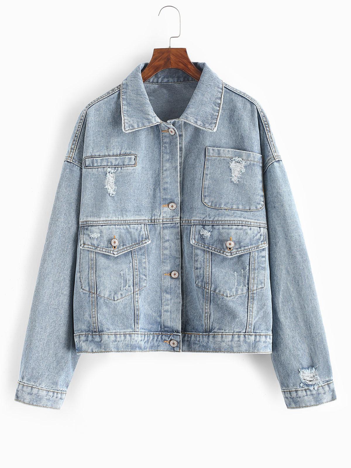 Ripped Flap Pocket Drop Shoulder Jean Jacket