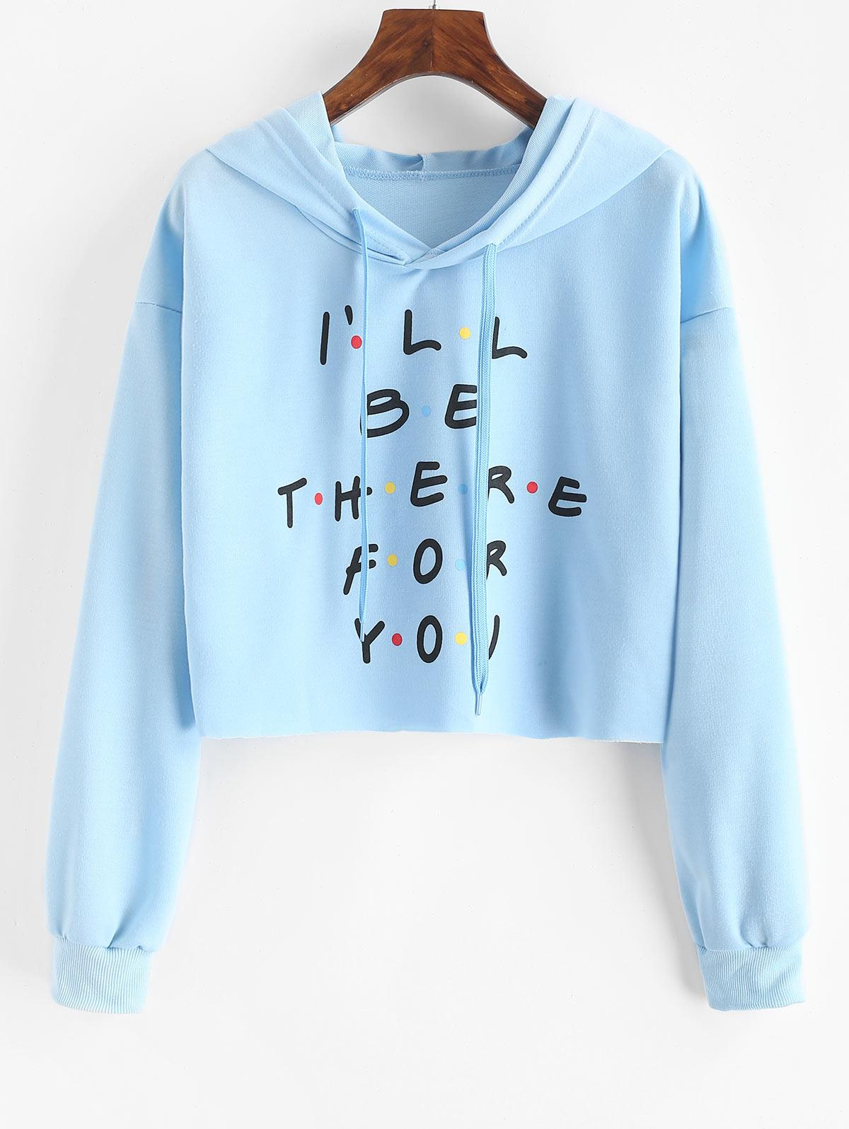 Colored Polka Dot Letter Graphic Cropped Hoodie