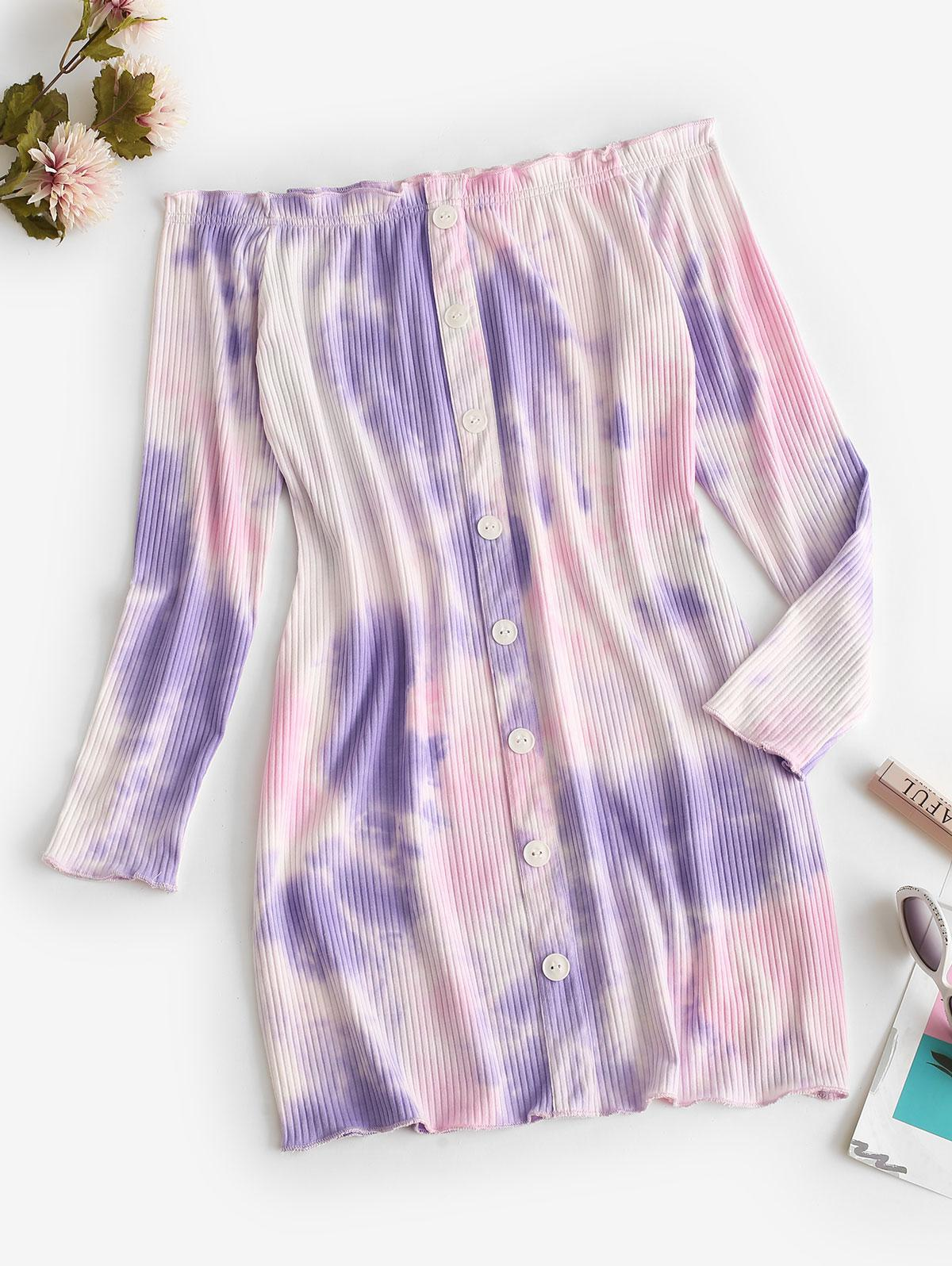Off Shoulder Ribbed Tie Dye Long Sleeve Dress