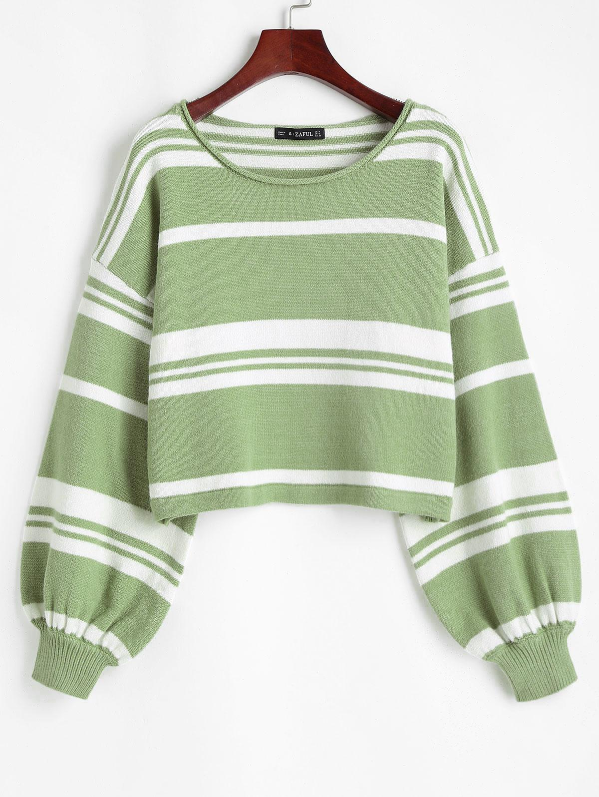 Slouchy Striped Voluminous Sleeve Sweater