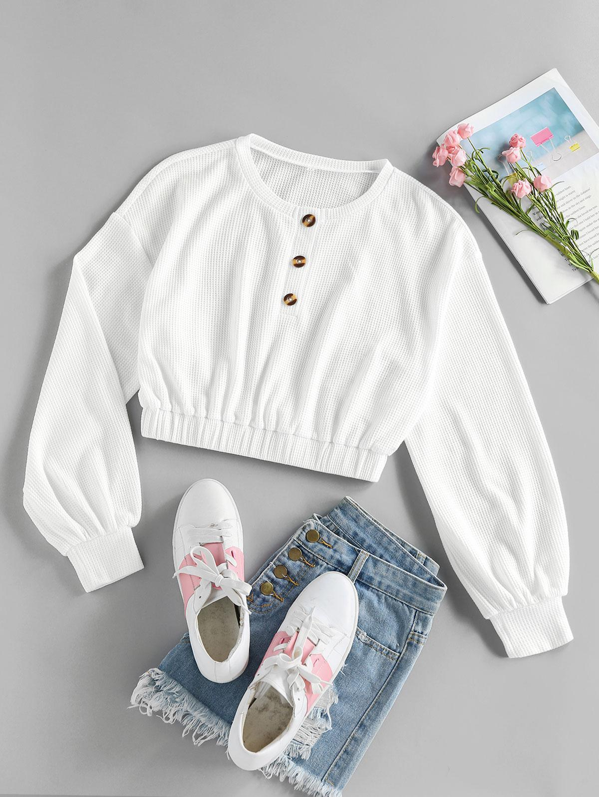ZAFUL Drop Shoulder Buttoned Knit Sweatshirt