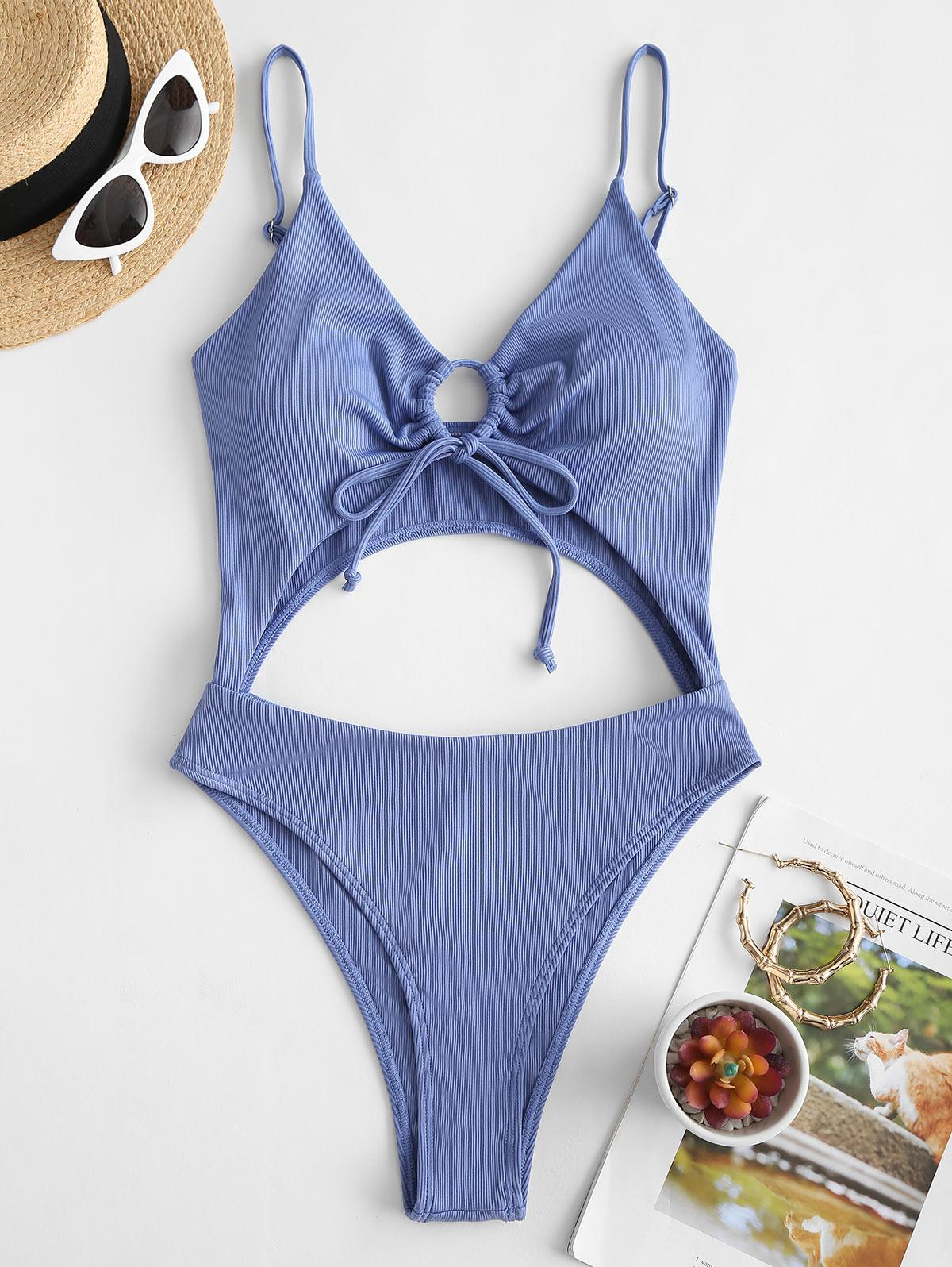 ZAFUL Ribbed Tie Cut Out One-piece Swimsuit
