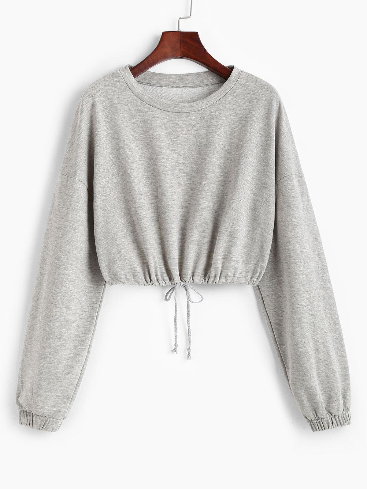 Loose Drawstring Hem Cropped Sweatshirt