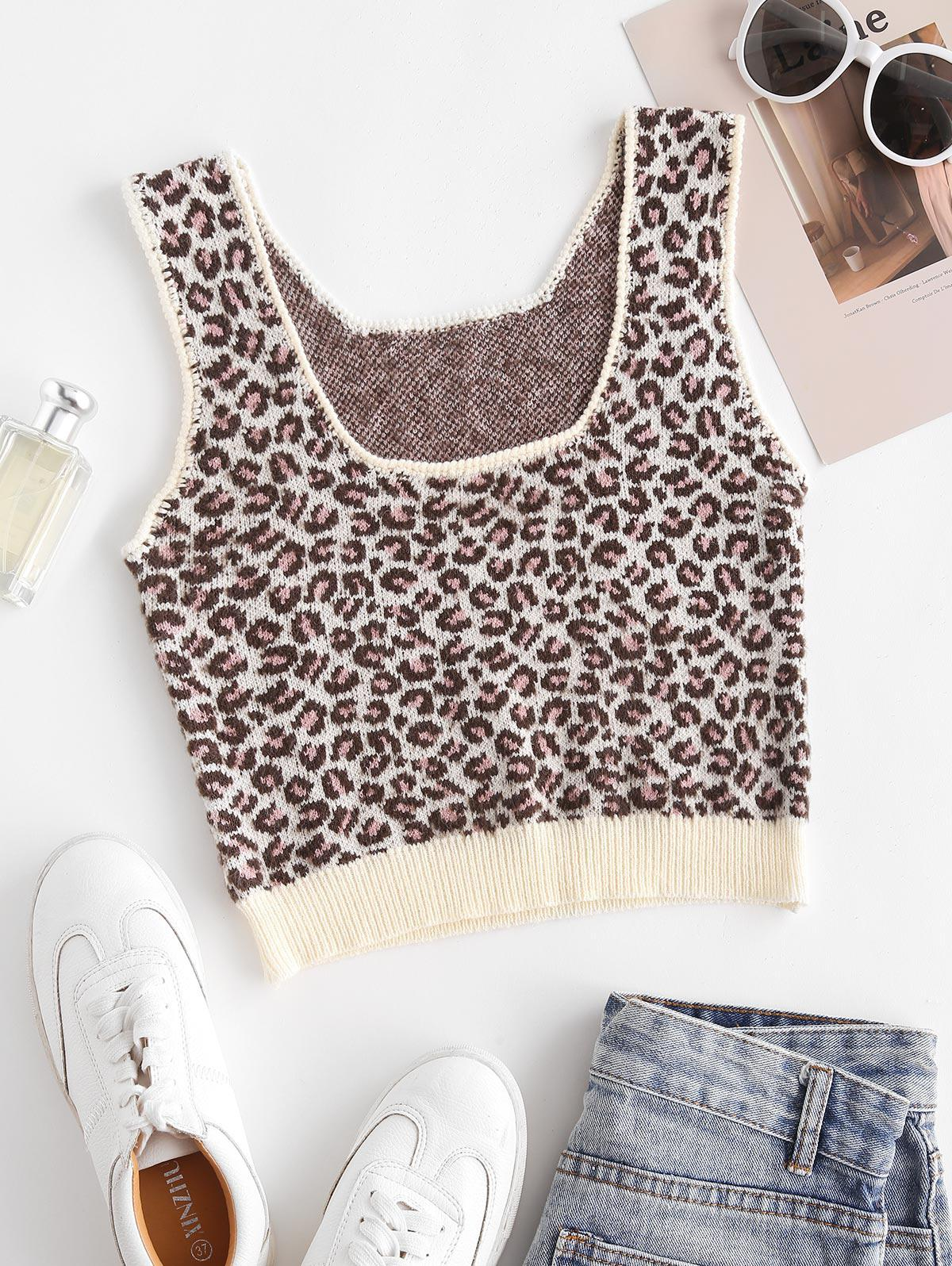Cropped Leopard Knitted Tank Top
