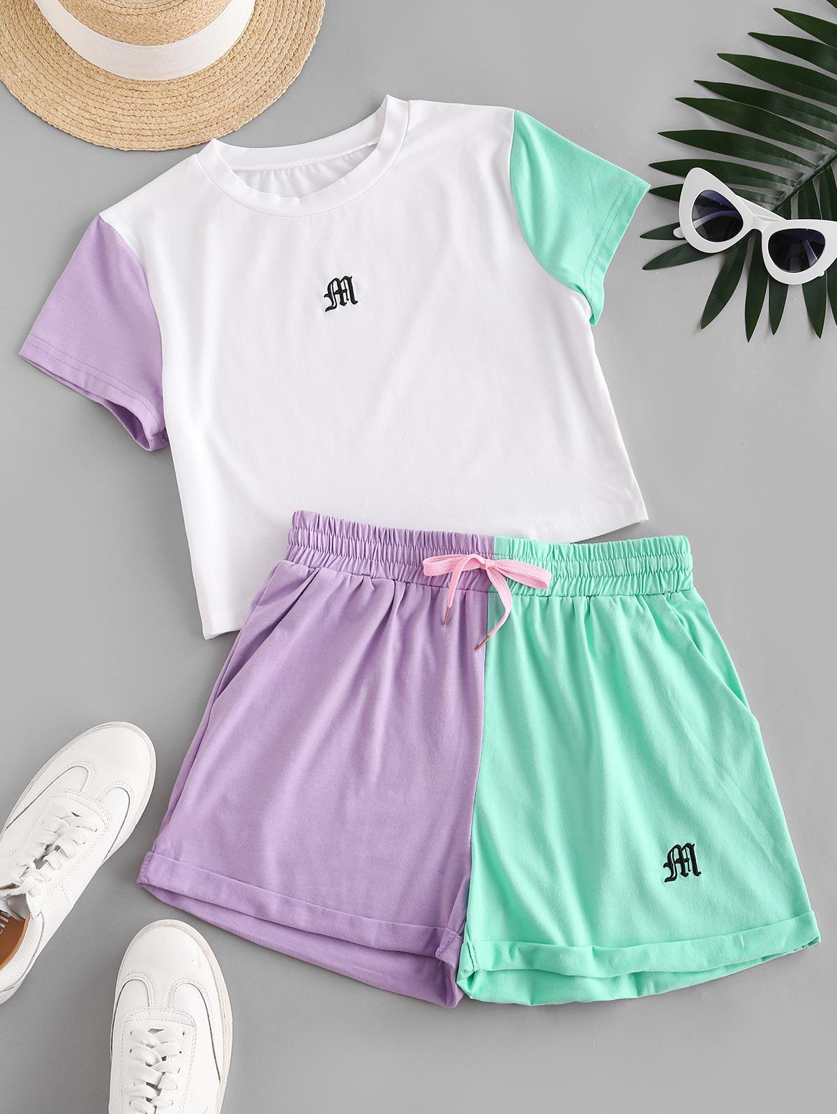 Drawstring Colorblock Embroidered Two Piece Set