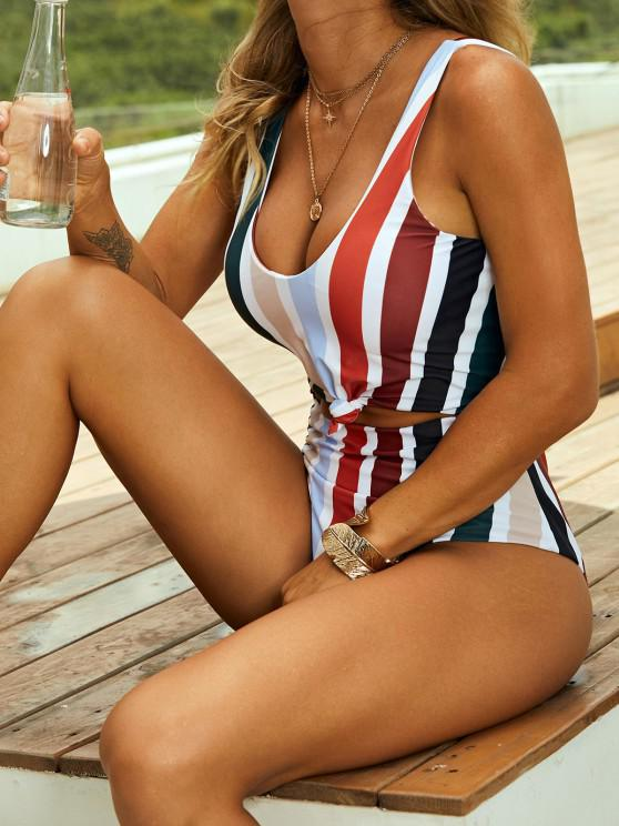 best ZAFUL Striped Knotted Monokini Swimsuit - MULTI M