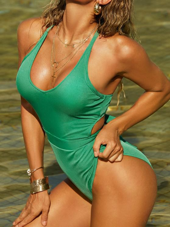 lady ZAFUL Ribbed Criss Cross Tie Back One-piece Swimsuit - LIGHT GREEN L