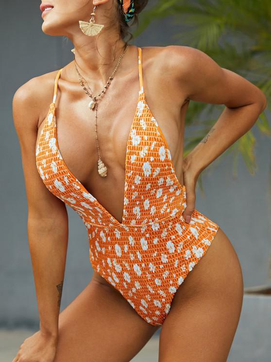 ZAFUL Floral Smocked Plunge Criss Cross Swimsuit - البرتقالي L