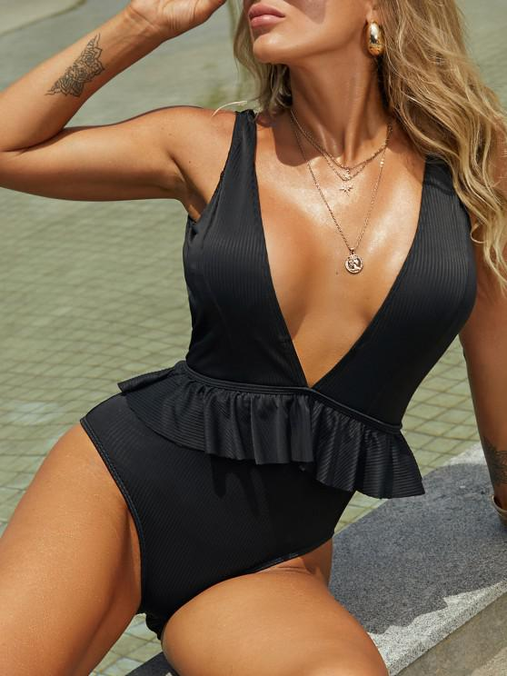 trendy ZAFUL Ribbed Plunging Backless One-piece Swimsuit - BLACK XL