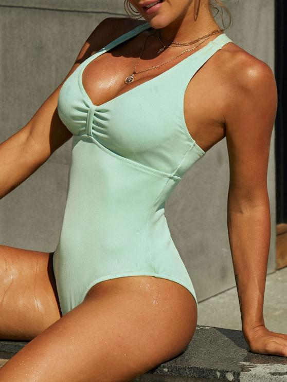 outfit ZAFUL Ribbed Criss Cross Knotted One-piece Swimsuit - GREEN S