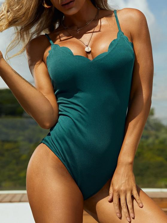 womens ZAFUL Scalloped Ribbed One-piece Swimsuit - DEEP GREEN S