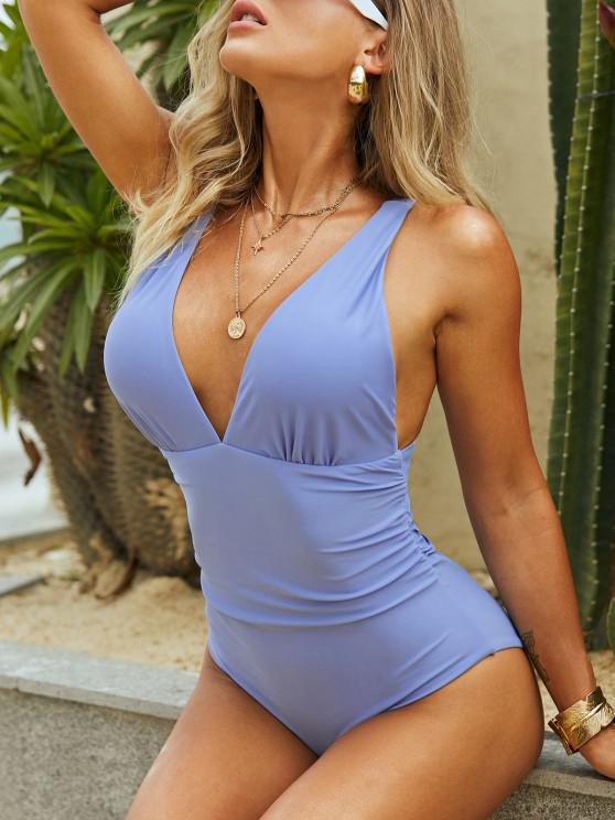 best ZAFUL Plunge Ruched Cutout One-piece Swimsuit - SKY BLUE L