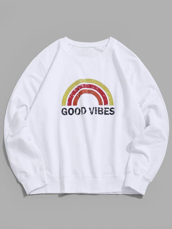 women Rainbow Graphic Lounge Crew Neck Sweatshirt - WHITE XS