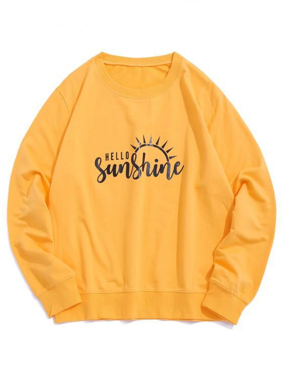 Sweat-shirt Pull-over Décontracté Graphique Lumière de Soleil - Jaune XL