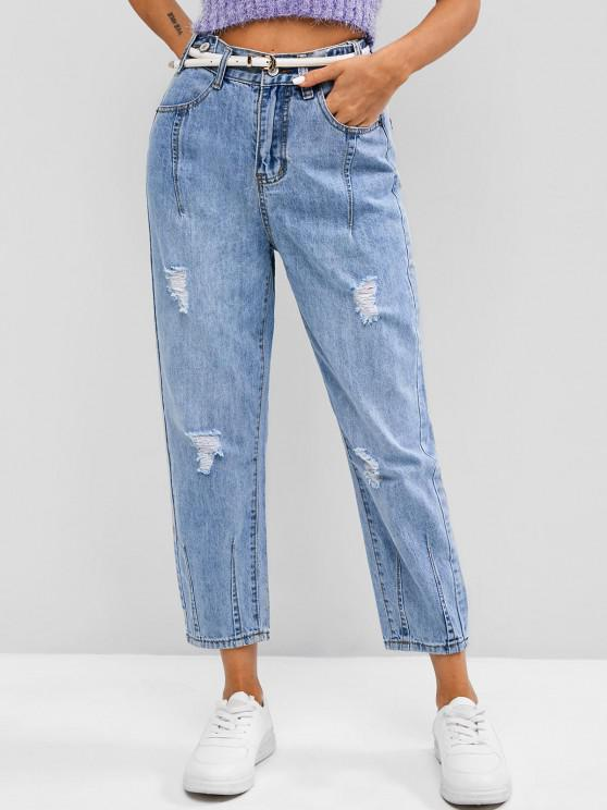 unique Distressed High Waisted Ninth Tapered Jeans - BLUE 2XL