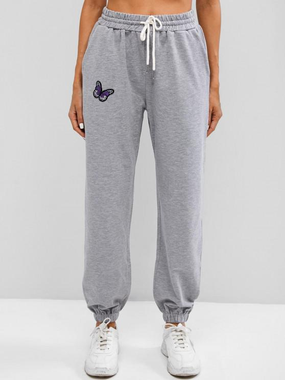 fashion Drawstring Butterfly Embroidery Jogger Pants - GRAY S