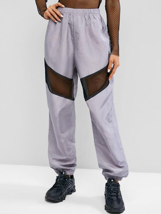 affordable Fishnet Panel High Rise Windbreaker Pants - GRAY XL