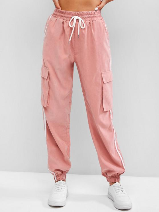 affordable Side Striped Flap Pockets Pencil Cargo Pants - LIGHT PINK S