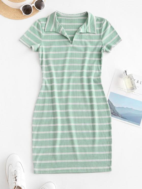 best Casual Ribbed Stripes Bodycon Dress - GREEN L