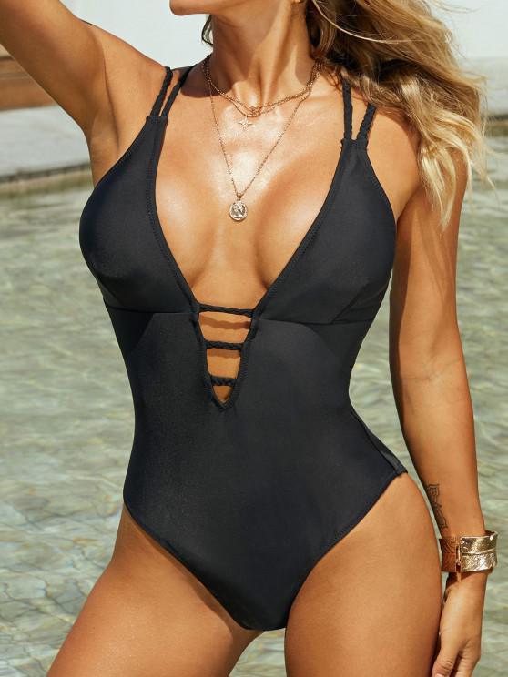 shop ZAFUL Braided Straps Backless Lattice One-piece Swimsuit - BLACK XL
