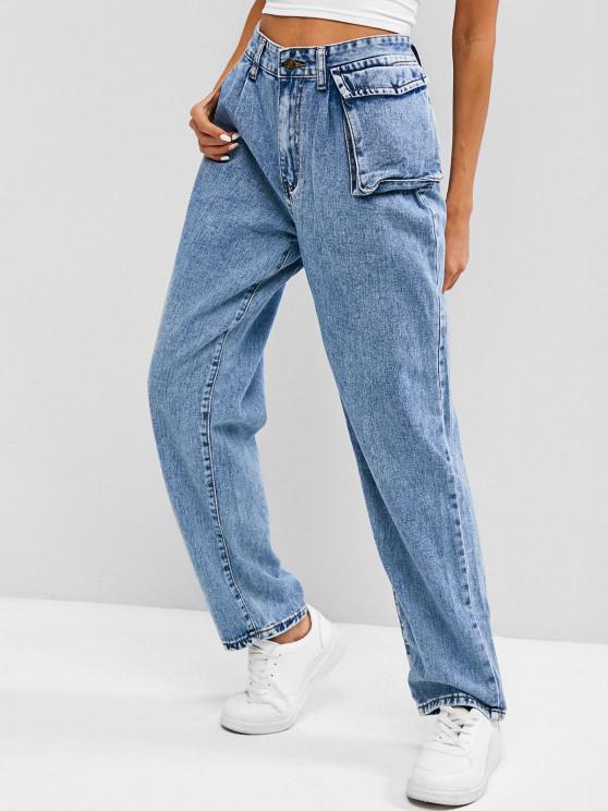 chic Light Wash Boyfriend Jeans - BLUE XS