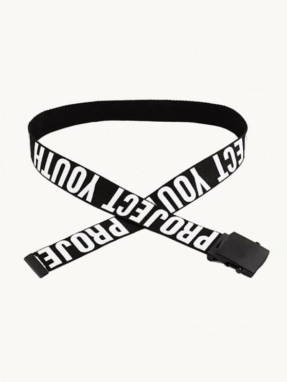 Casual Letter Pattern Canvas Belt - أسود