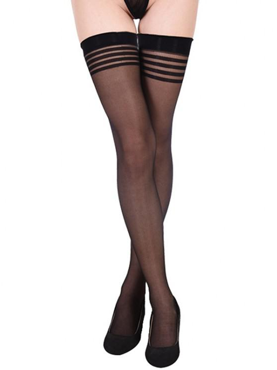 affordable Striped Thigh High Non-slip Stockings - BLACK