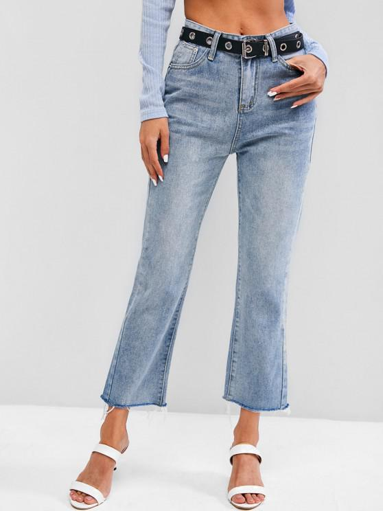 lady Light Wash Frayed Hem Stovepipe Jeans - LIGHT BLUE L