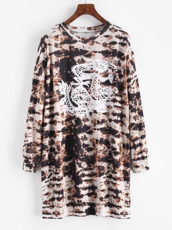 outfits Tie Dye Dragon Print Drop Shoulder Shift Dress - DEEP COFFEE M