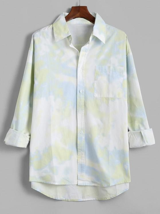 womens Tie Dye Print Pocket Patch Long Sleeve Shirt - GREEN L